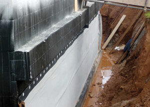 ICF basement with external waterproofing system